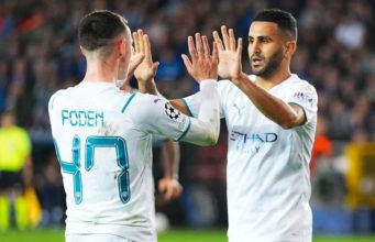 Manchester City : Mahrez signe un doublé face au Club Bruges (vidéo)